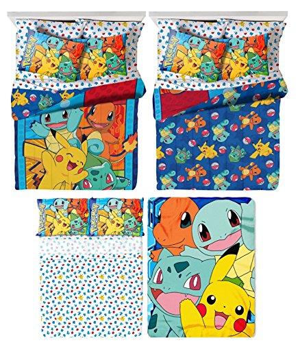 Pokémon 6 Piece Kids Full Bedding Set - Reversible Comforter, Sheet Set with 2 Reversible Pillowcases and Ultra Soft Throw Blanket by Pokémon