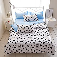 4pcs Bedding Set Duvet Cover Set 100% Combed Cotton Flat Sheet Duvet Cover PillowCase KY Twin Full Queen Happy Childhood Cartoon Design (Twin, Milk Cow, White)