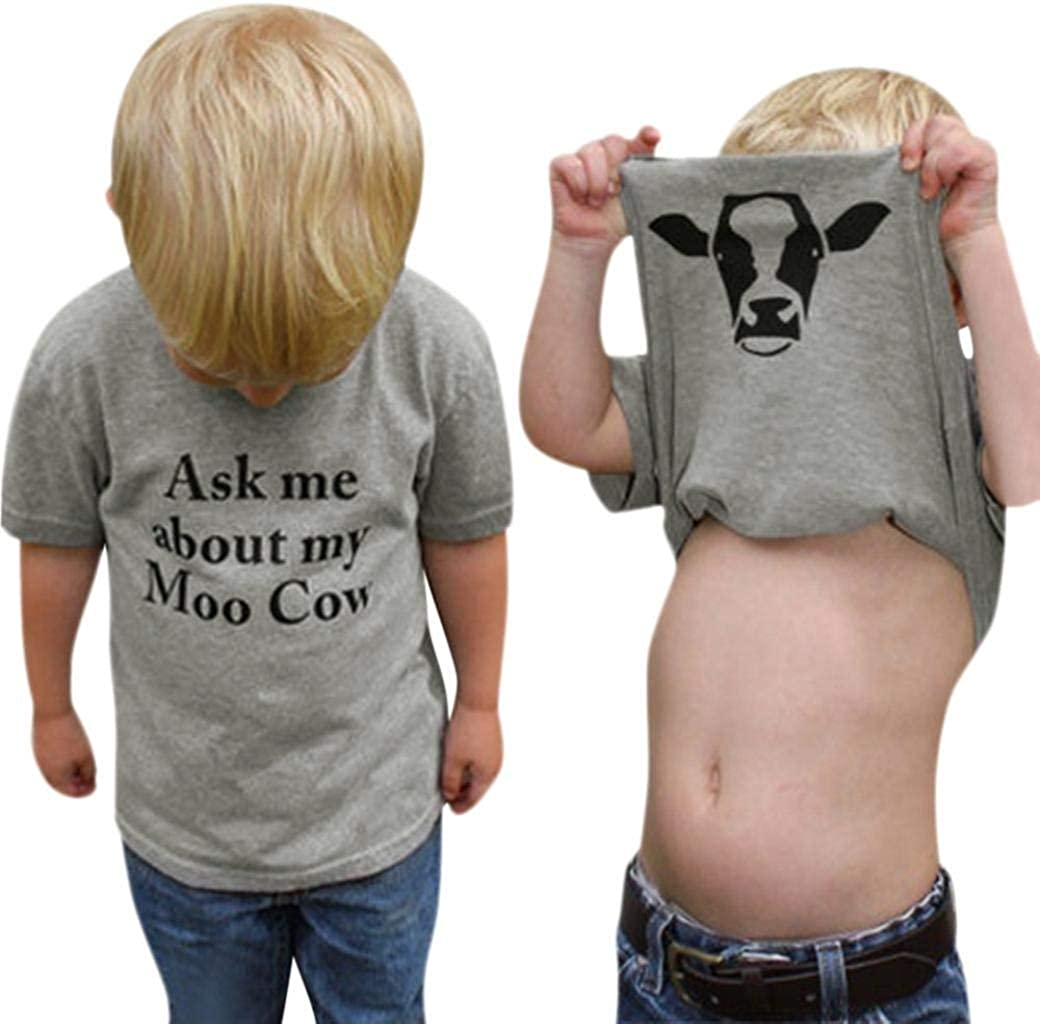 GObabyGO Summer Ask me About My moo Cow, Toddler Kids Baby Boys T-Shirt Short Sleeve Tops Tees