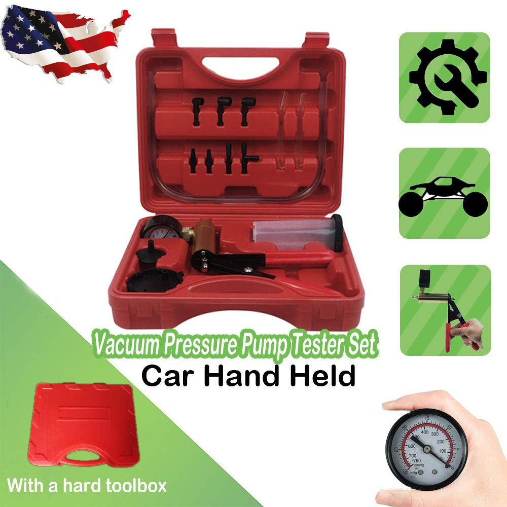 Blue CARSC Hand Held Vacuum Pump Tester Kit with Adapter and Case is Suitable for Automotive Vacuum Gauge and Brake Exhaust Kit