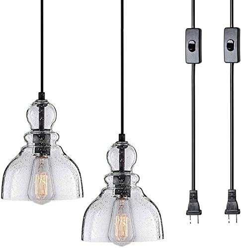 Bjour Mini Pendant Light Plug in Foyer Lighting Adjustable Pendant Lights Indoor Glass Hanging Lamp Clear Seeded Glass Shade for Kitchen Dining Room Bedroom, 2 Pack
