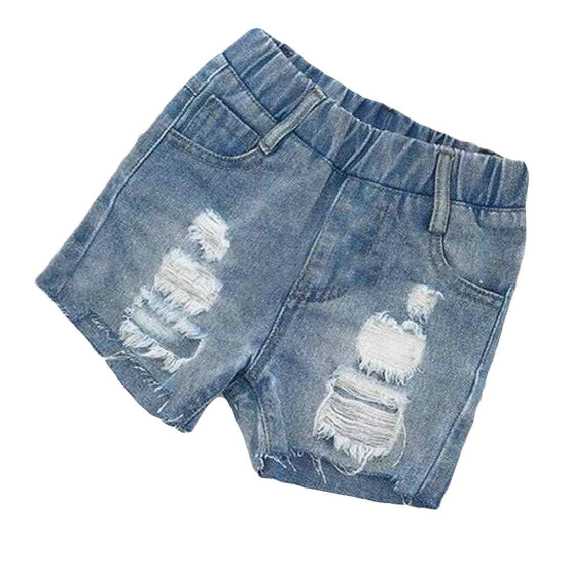 JWK Boys Cozy Faded Ripped Washed Elastic Waist Vogue Denim Shorts