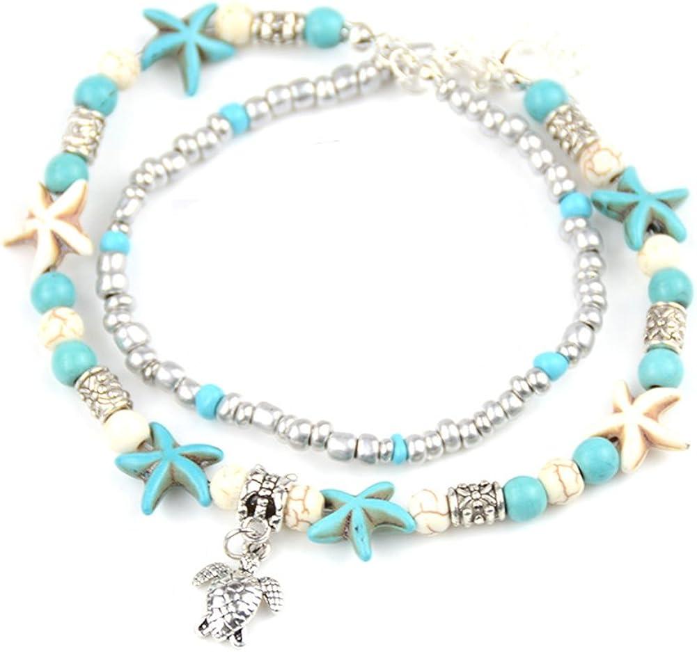 Tobilleras para mujeres Boho Starfish Tobilleras para mujeres con piedras múltiples Boho Turquoise