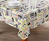 AAN Spooky Hallo-Words PEVA Round Tablecloth, (60'')
