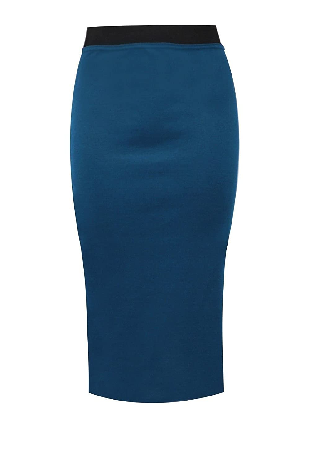 0e892028b31 NEW WOMENS PLAIN MIDI PENCIL SKIRT BODYCON STRETCH JERSEY OFFICE SKIRT SIZE  8-26