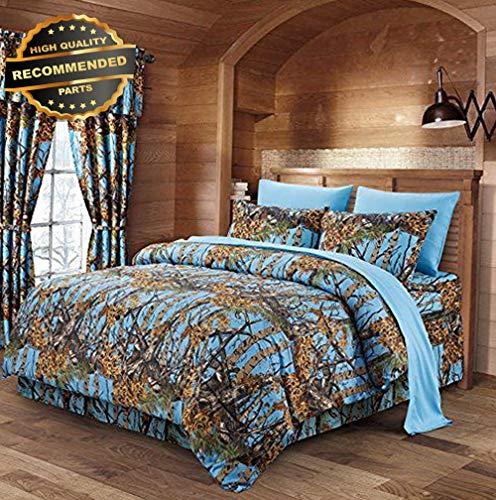 (Gatton Premium New Powder Blue Woodland CAMO Full-Queen Comforter | Style Collection Comforter-311012285)