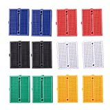 Qunqi 12pcs 170 Points Mini Breadboard for Arduino ProtoShield(Blue+Black+Red+Green+Yellow+White)