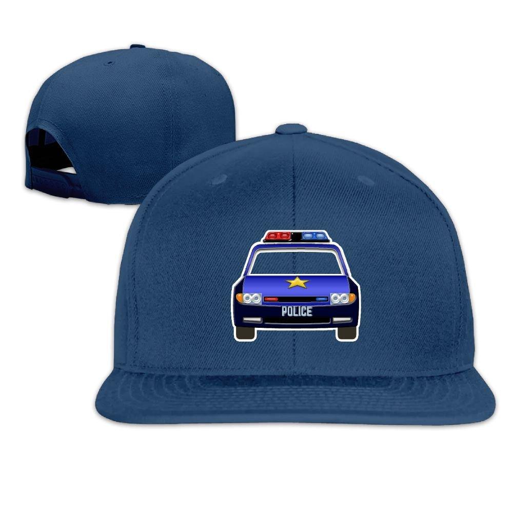 Jusxout Police Car Snapback Unisex Adjustable Flat Bill Visor Baseball Cap