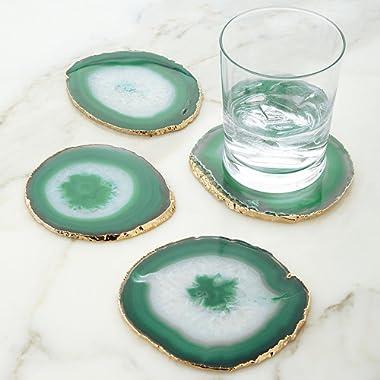 Modern Home Set of 4 Natural Agate Stone Coasters - Green w/Gold Edge