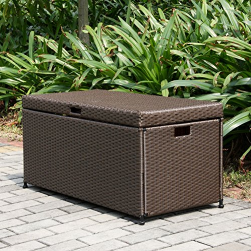 Outdoor Resin Wicker Storage Deck Box by Jeco
