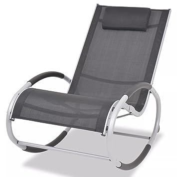 Luckyfu Cette Chaise à Bascule de Jardin en Aluminium et textilène ...