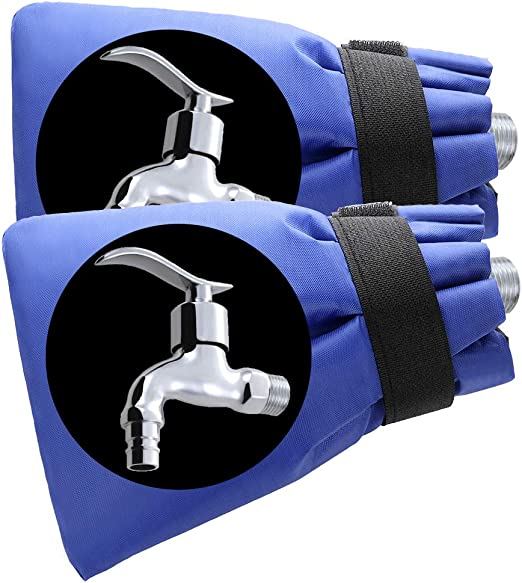 Warooma Outdoor Faucet Cover Socks Freeze Protection Covers Spigot Cover Prevent Freeze Ups, Bursting Pipes for Winter - 2 Pack: Amazon.es: Jardín