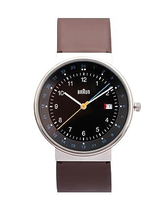 Braun BN0142BKBRG - Reloj de cuarzo unisex, correa de cuero color marrón: Amazon.es: Relojes