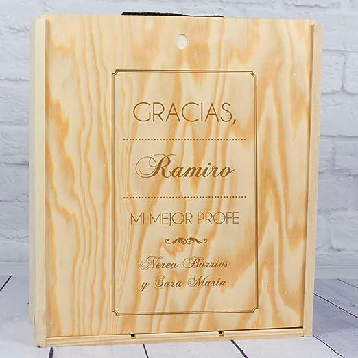Regalo Personalizado de Fin de Curso: Botella de Vino con Etiqueta Personalizada para Profesores (Caja Madera 3 Botellas): Amazon.es: Hogar
