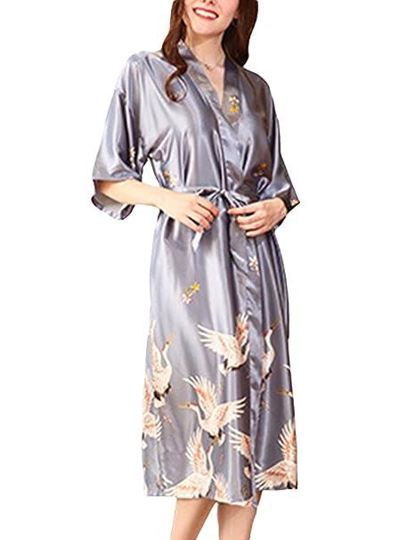 SOMTHRON Kimono Mujer Bata Largo Sexy y Elegante Pijamas Albornozes Camison Bata de baño de Damas