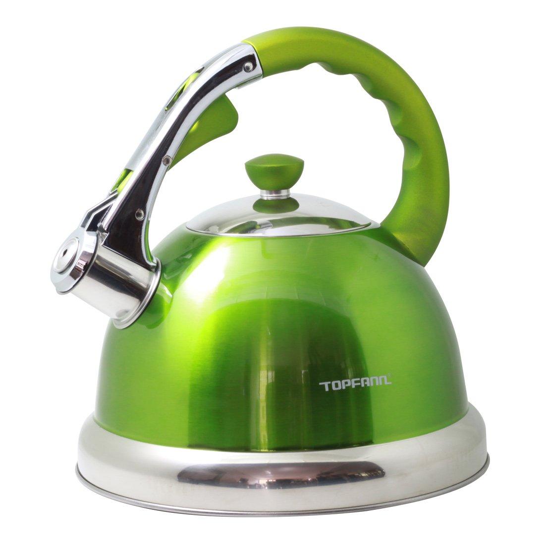 Riwendell 3.2 Quart Whistling Tea Kettle Stainless Steel Bell Shape StoveTop Teapot (GS-04555HY-3L, Green)
