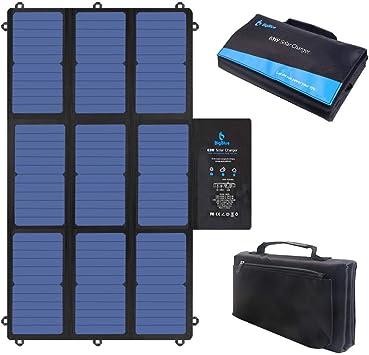 BigBlue 63W Cargador Solar Plegable, SunPower Panel Solar Portátil (2 * 5V USB+19V DC Salida+ USB-C Puerto) para Ordenador Portátil, Generador ...