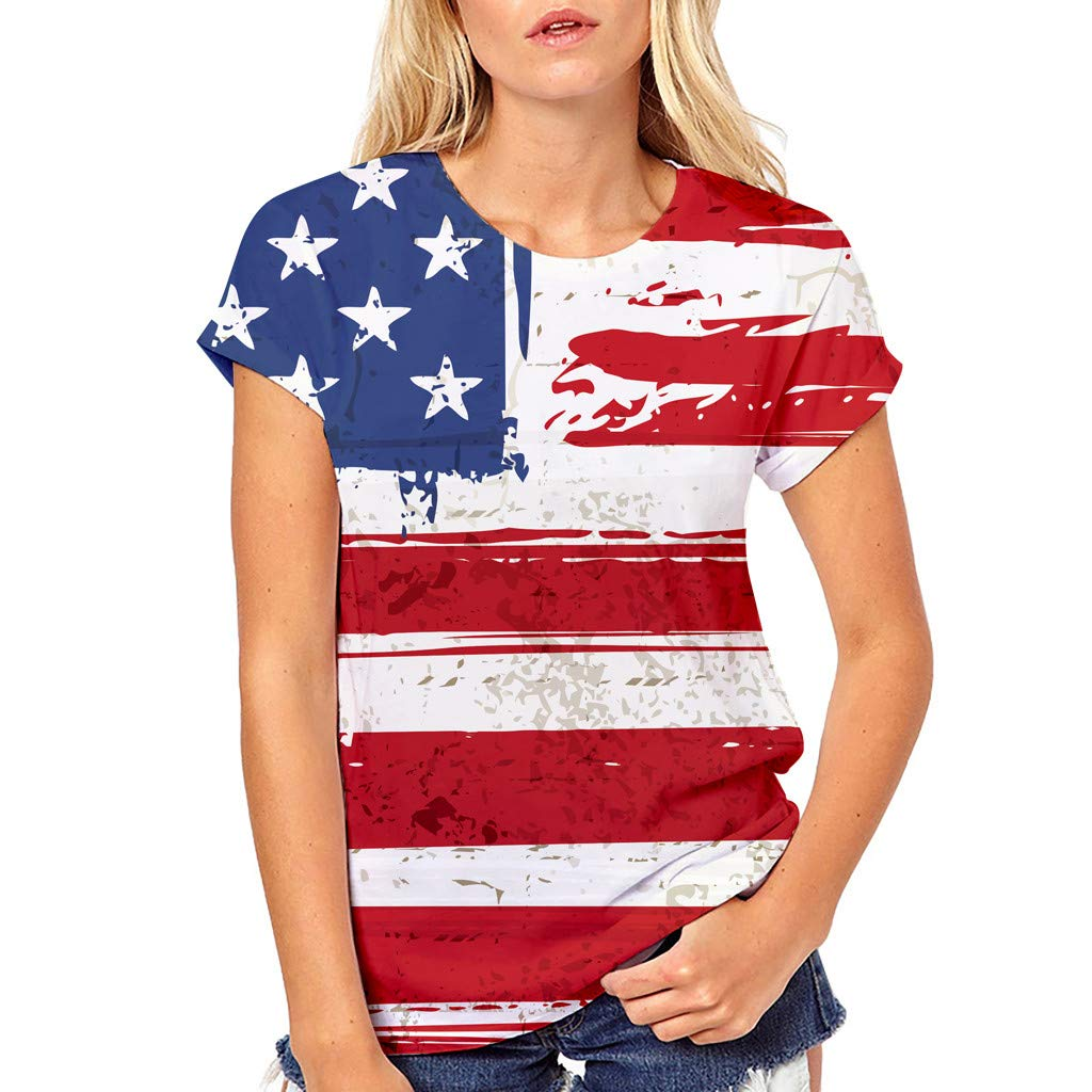 Respctful✿American Flag Clothing for Women Summer O Neck Raglan Short Sleeve Shirts Casual Short Sleeve Red
