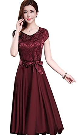 Unomatch Women Silk Printed Top Bow Waist Prom Dress Red Vine (X-Large,