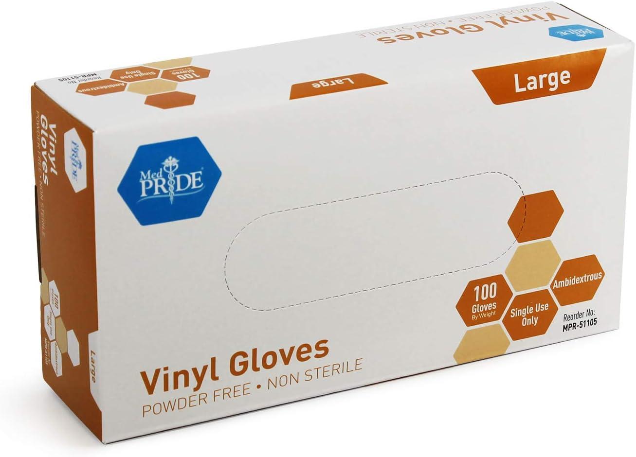 Medpride Vinyl Gloves  Large Box of 100