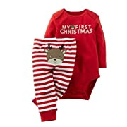 Verala Baby Cotton Christmas Deer Romper Jumpersuit Bodysuits Pants (70,fit for 0-6M)