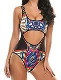 Qearal Women Cut Out Monokini Tribal Print High Waist Padded One Piece Swimsuit Tummy Control Swimwear