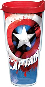 Tervis Marvel - Captain America Tumbler with Wrap and Red Lid 24oz, Clear
