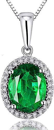 Antique Women Engagement Jewelry Emerald Crystal Heart Pendant Chain Necklace