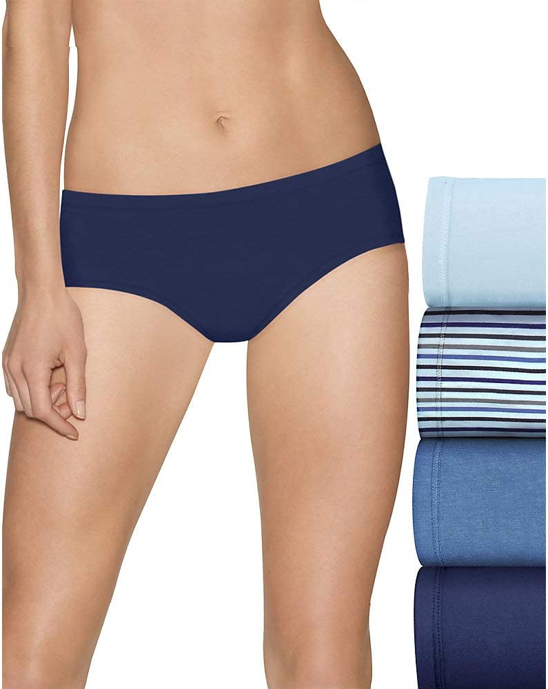 Hanes Panties 8-Pack Womens Cool Comfort Cotton Stretch Brief Cut Soft Tag-free