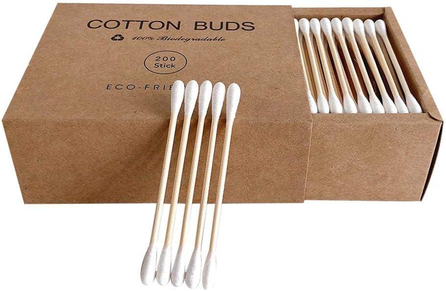 Bambú algodón Buds, 200 ct biodegradable orgánico algodón natural ...