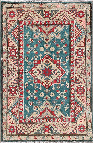 3x4 Wool Geometric Oriental Kazak Carpet Hand-Knotted Foyer Rug New Pakistani (4' 2