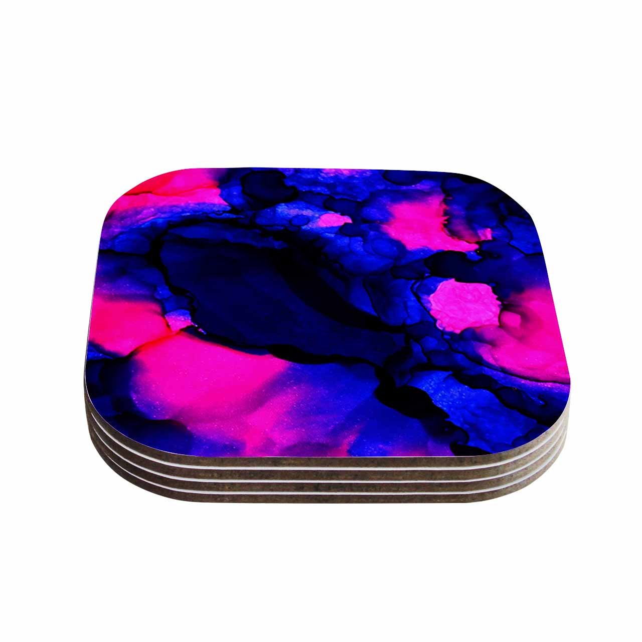 Multi 4 x 4 KESS InHouse Claire DayPink Jellies Pink Blue Abstract Painting Coasters Set of 4