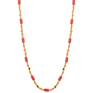 Buy Chic Picks By Vinti Designer Coral Colored Stone Gold Beads