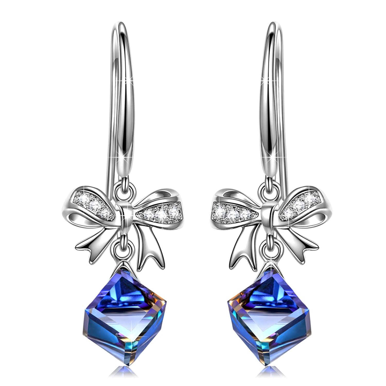J.NINA Hypoallergenic Drop Earrings, ♥Jewelry Gifts♥ with Exquisite Package Magic of Love Dangle Earrings with Swarovski Crystals, Bowtie Design for Pierced Earrings