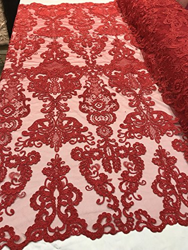 (Lace Fabric - Red Embroidered Mesh Trim Bridal Sequins Veil Wedding Dress By The Yard)