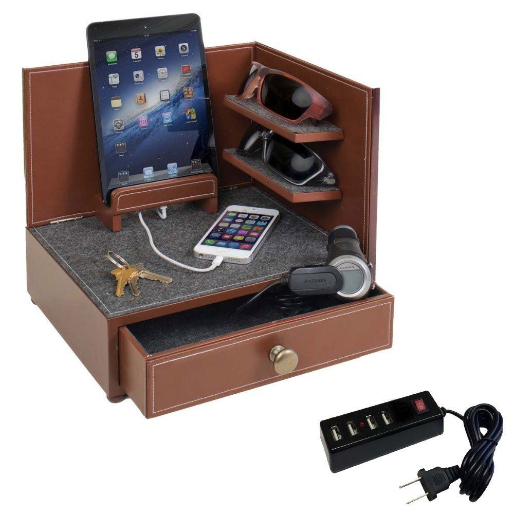 G.U.S. ''Rustic Modern'' Corner Multi-Device Charging and Sunglass Station with Drawer & 4-Port USB Power Strip