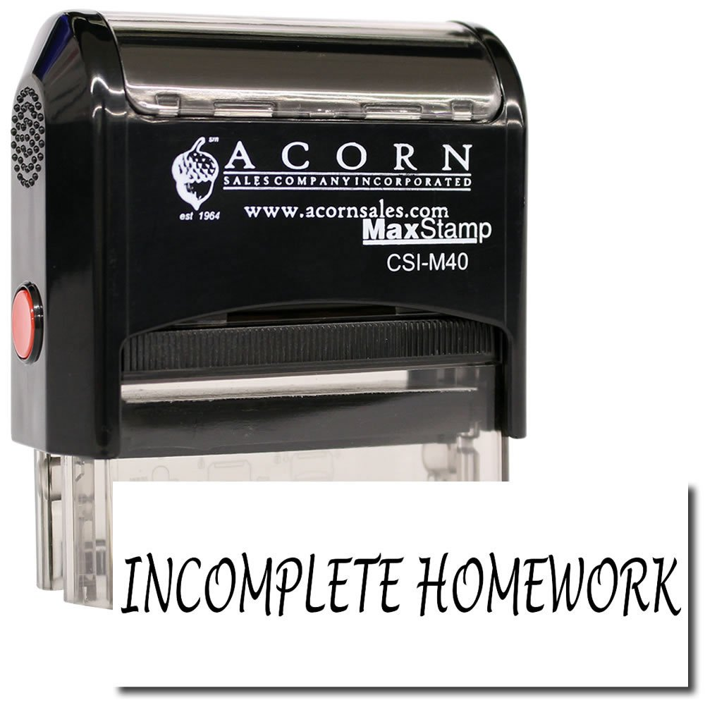MaxStamp - Self-Inking Incomplete Homework Stamp (Red Ink)