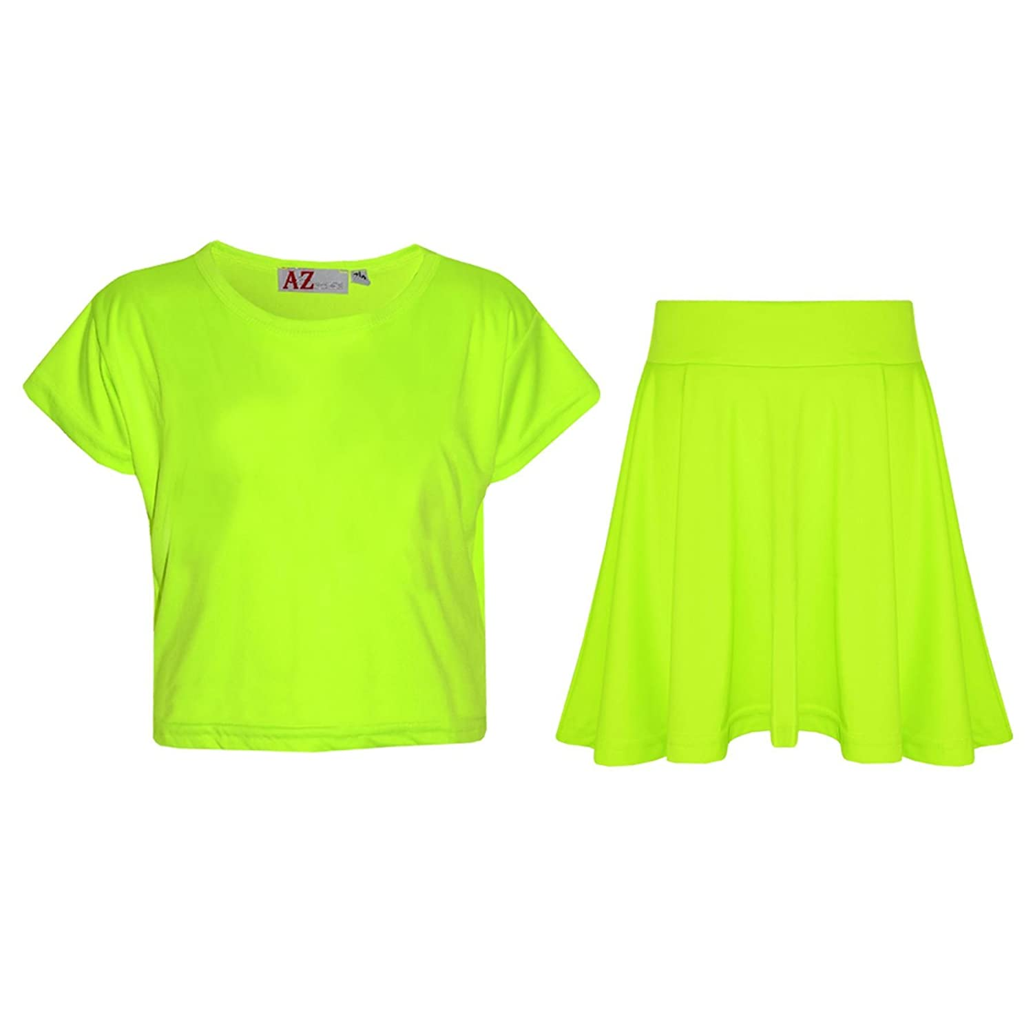 A2Z 4 Kids®®®® Girls Top Kids Plain Color Stylish Crop Top & Skater Skirt Set