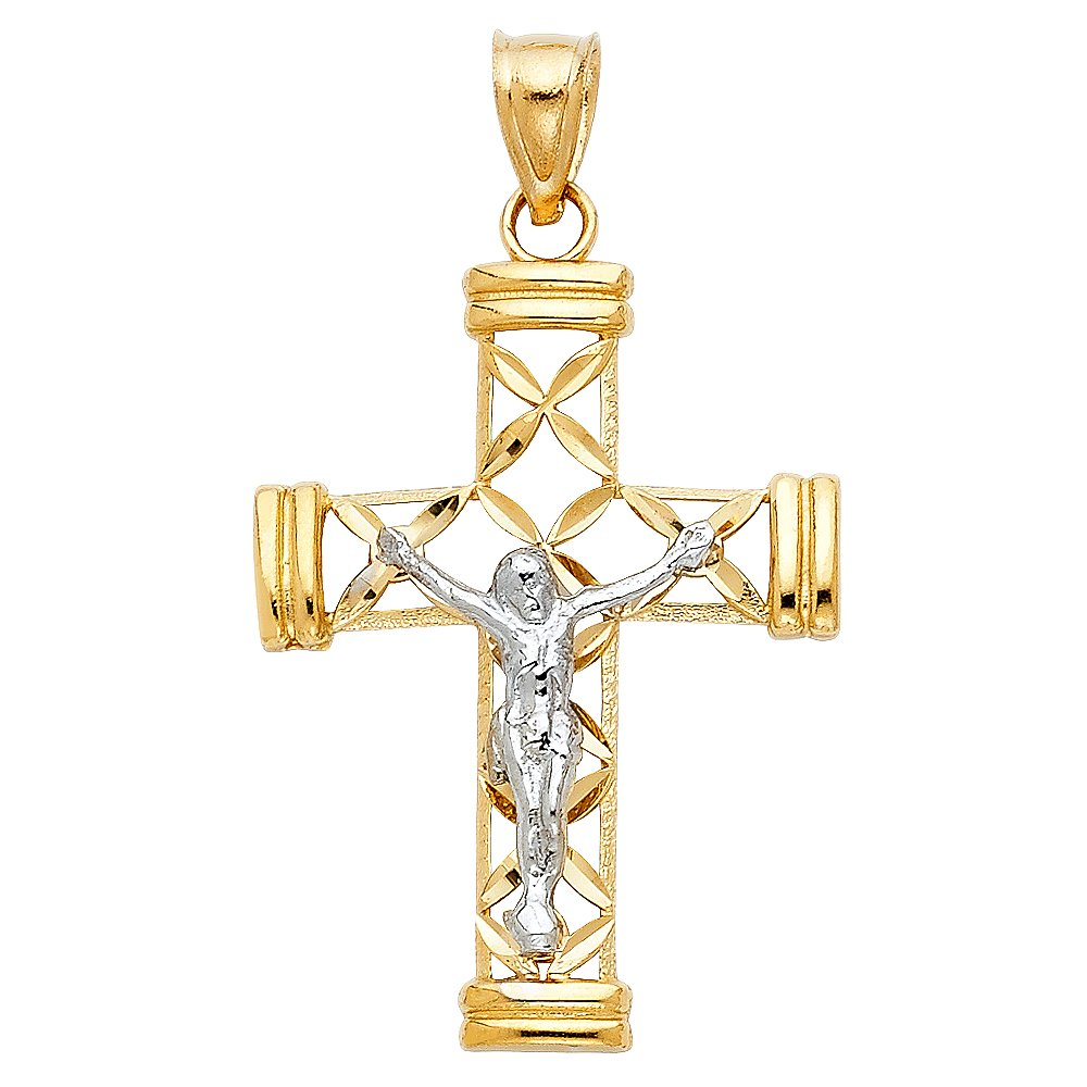 39mm x 25mm 14K Two-tone Gold Religious Cut-Out Crucifix Charm Pendant