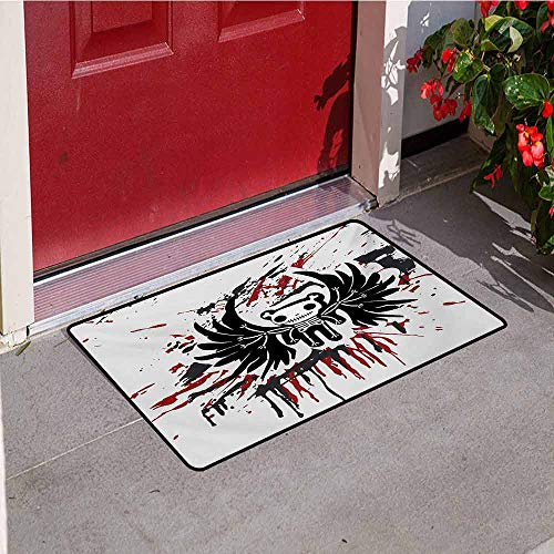 Halloween Commercial Grade Entrance mat Teddy Bones with Skull Face and Wings Dead Humor Funny Comic Terror Design for entrances garages patios W31.5 x L47.2 Inch Pearl Black Ruby