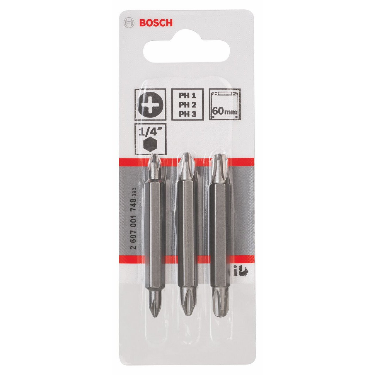 Bosch 2607001745 Pack de 3 embouts de tournevis doubles PH1 PZ1 S 0,6 x 4,5// PH2 PZ2 S 1,0 x 5,5//60 mm