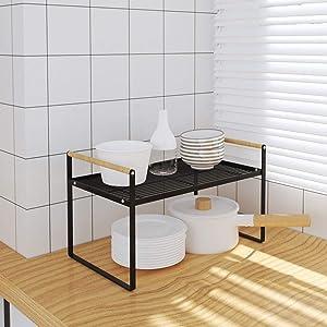 Countertop Organizer, Cupboard Stand Spice Rack,Cabinet Shelf, Kitchen Bathroom Storage Rack (Black, 23.50)