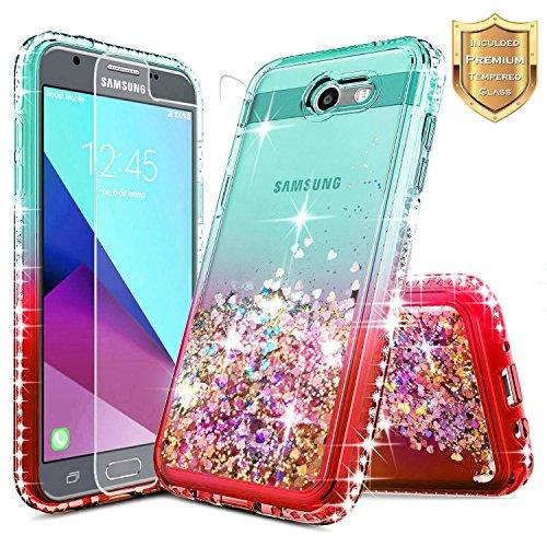 Galaxy J7 Prime Case, J7 Sky Pro Case, J7 V / J7 Perx/Halo w/[Tempered Glass Screen Protector], NageBee Glitter Liquid Quicksand Sparkle Diamond Cute Case for Samsung Galaxy J7 2017 -Teal/Candy