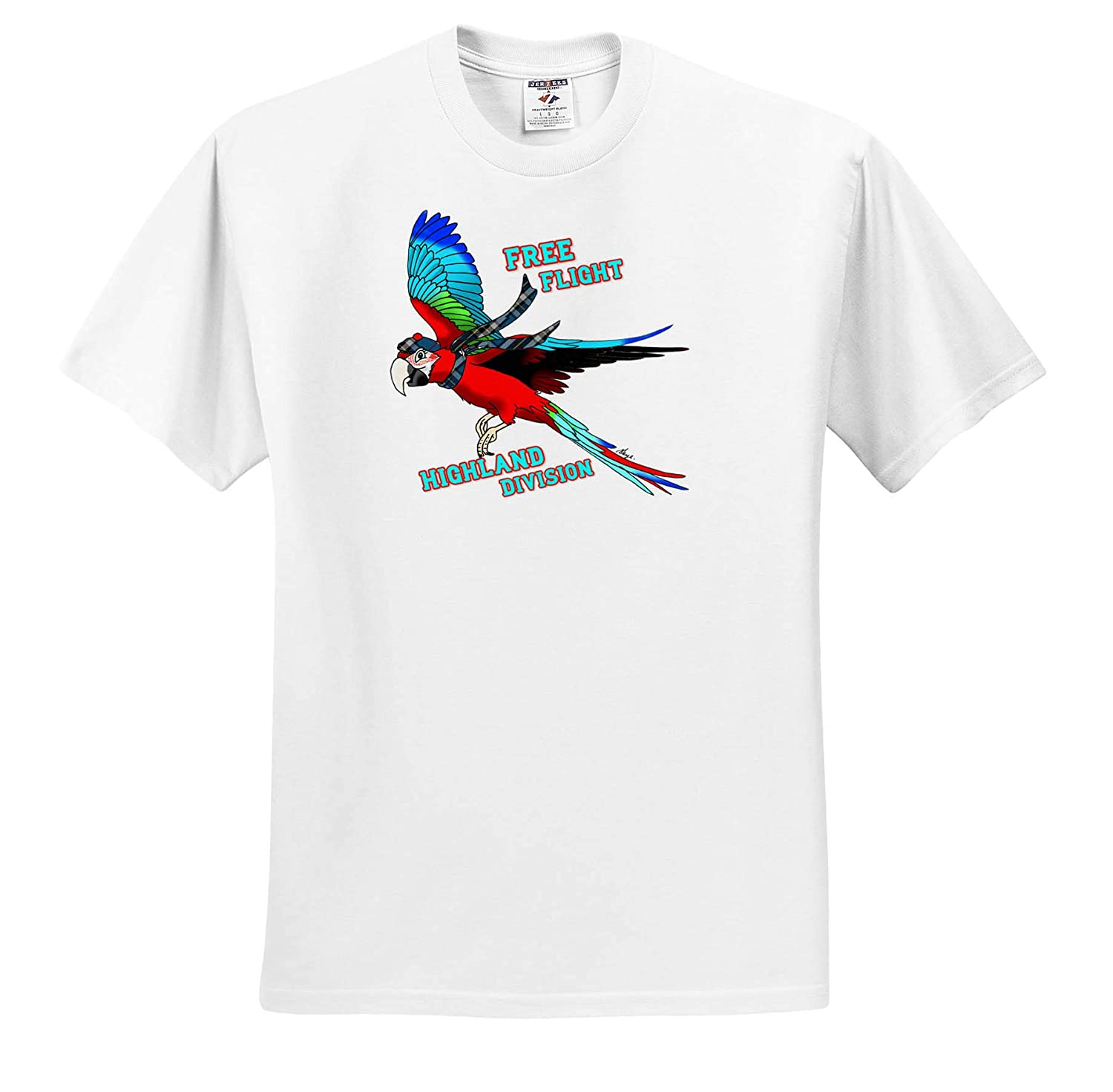 ts/_320538 Adult T-Shirt XL 3dRose Skye Elizabeth Designs Free Flight Highland Division Scottish Macaw