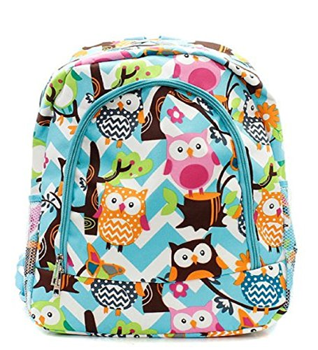 BLUE Stripe AQUA Canvas Large Chevron Owl Handbag Backpack gHx5w0gYq