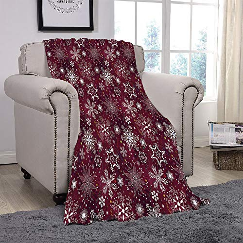 Light weight Fleece Throw Blanket/Winter,Floral Flakes with Colorful Swirls Dots and Stars Confetti Xmas Party Decorative,Maroon White Multicolor/for Couch Bed Sofa for Adults Teen Girls Boys