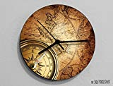 Vintage World Map Compass-Wall Clock Review