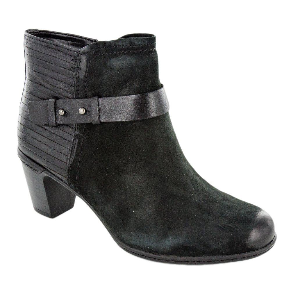 Cobb Hill Women's Rashel Buckle Ankle Boot, Black Nubuck, 11 M US