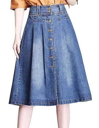 bc9c70d1ed IDEALSANXUN Women's Button Down High Waist Midi Denim Skirt A-line Jeans  Maxi Skirts at Amazon Women's Clothing store: