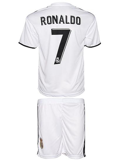 Conjunto de camiseta y pantalón con calcetines cortos para niños de la equipación del Real Madrid